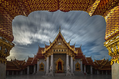 In the Frame (Jerry Fryer) Tags: marbletemple bangkok dawn first light reflections longexposure sky clouds