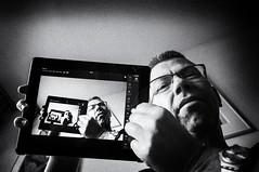Fractelfie (glukorizon) Tags: athome blackandwhite bottomview chaosorder drosteeffect face gezicht hand livingroom luc monochrome monochroom noise odc odc1 onderaanzicht ourdailychallenge ruis selfie tablet thuis view vignettering vignetting woonkamer zelfportret zwartwit ipad