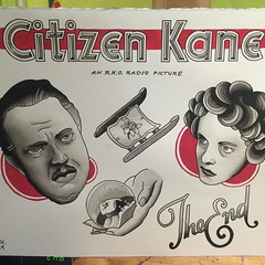 Finished! #citizenkane #tattooflash #tattooboogaloo #blackandgrey #classicfilm #sled #snowglobe #rosebud (Stevie Rocks the Casbah) Tags: red woman man black art film painting movie grey acrylic flash line rosebud orsonwells citizenkane girlhead rkopictures