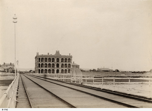 View of Largs Pier Hotel, seen from the jetty. - Photograph courtesy of the State Library of South Australia