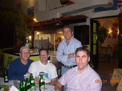 Larry, Mark, the handsome owner of The Friendly Greek Tavern and Dao - Fira - May 2007 (litlesam1) Tags: mark santorini greece larry fira may2007