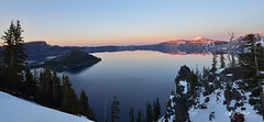 Crater Lake, Oregon (Lijuan Guo Photography ( Hollow Bamboo)) Tags: blue winter sunset lake snow oregon crater caldera wim volcanic wizardisland