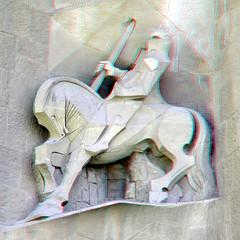La Sagrada Familia Barcelona 3D (wim hoppenbrouwers) Tags: barcelona detail statue facade 3d anaglyph stereo gaudi lasagradafamilia redcyan gevelbeeld