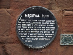 Medieval Ruin - Much Park Street, Coventry - black plaque (ell brown) Tags: greatbritain england plaque sandstone ruins unitedkingdom medieval coventry westmidlands coventryuniversity gradeiilisted blackplaque mpst gradeiilistedbuilding medievalruin coventryblitz medievalstonebuilding citycentretrail muchparkst 118muchparkst openplaques:id=39282