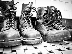 132/365 - Taking Names (carankin) Tags: blackandwhite punk gritty combatboots