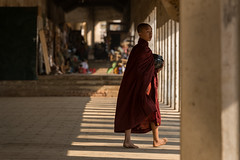 Novice Monk at Bagan (5AAAAM) Tags: life street old city travel portrait people art walking asian pagoda ancient nikon asia buddha candid buddhist documentary shade myanmar local tamron buddist pagodas bagan d600 oldbagan nikond600 tamron70200vc shwesigon