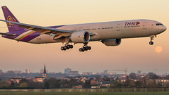 """Thai 777 on final for Brussels airport • <a style=""""font-size:0.8em;"""" href=""""http://www.flickr.com/photos/125767964@N08/17079316742/"""" target=""""_blank"""">View on Flickr</a>"""