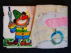 "A la Erwin Wurm ""Pink Wind is Blowing over the Mountains"" ""Rosa Wind weht ber die Berge"" - ""an apple a day keeps the doctor away - An ENSO (Japanese: circle, kreis) a Day ..."" 15. April 2015: (hedbavny) Tags: vienna wien pink blue sky cloud mountain art berg collage ink circle paper studio austria mirror design sketch sterreich wind spiegel kunst clown diary rosa himmel wolke sketchbook minimal scissors workshop silence cycle letter wabisabi blau minimalism bild papier tagebuch tinte impression aktion atelier kreis narr stille enso erwinwurm workingroom narrenturm wurm kleben entwurf handschrift gemlde schere skizze sewingpattern schneiden notiz arbeitsraum skizzenbuch rosarot schnittmuster privatbesitz aktionismus reissen zyklus buntpapier narrenhaus schnittmusterbogen hedbavny ingridhedbavny buntheft"