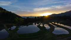 a quiet morning 2015 (k n u l p) Tags: sunlight mountain reflection water field japan quiet rice terrace sony hyogo 1018mm 三方郡 nex7 sel1018 うへ山