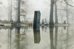 """Late Winter Reflections (ii)"" (D A Baker) Tags: lindenwood cemetery fog foggy morning winter mist flood pool puddle tombstone tombstones monuments monument headstone reflection reflecting reflections fort wayne ft veteran civil war fuji fujifilm x100s graveyard daniel baker da"