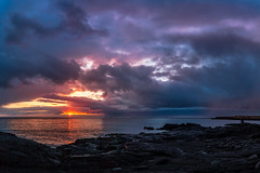 Hvaleyrin (O.G. Ljsmyndun) Tags: pink sunset red sea summer sky panorama orange cloud sun color beauty yellow clouds canon dark islands iceland rocks purple outdoor william cliffs reykjavik shore reykjavk hafnarfjrur sland sjr li rautt myrkur vatn sk gulur gult brim rigning fjara 2015 ndfilter klettar fjrufer slsetur rauur myndataka blr sk skjafar skja ogljosmyndun studiocux lafurgsli