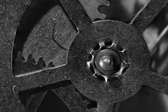 Watch Gear (KellarW) Tags: canonmpe65mmf2815xmacro philipshue watch watchgears gear gears blackandwhite bw blackwhite grey gray spokes spoke cog cogs time antique age aged precision engineering marvel technical passing tick tock mechanical mechanism steampunk