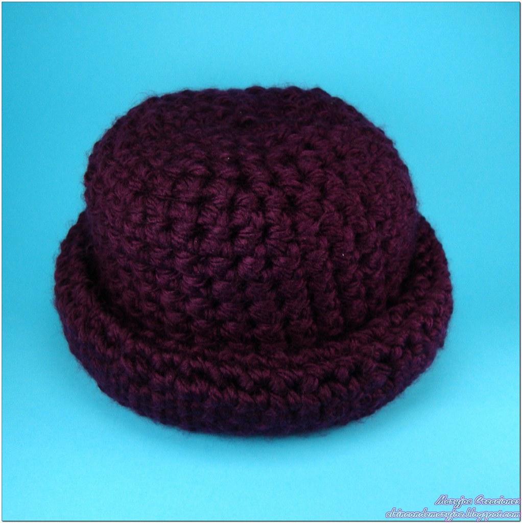 c1f032c0cb3c0 Ganchillo Gorro Sombrero Granate con Marca de Agua (maryjoecraft) Tags  hat  gorro crochet