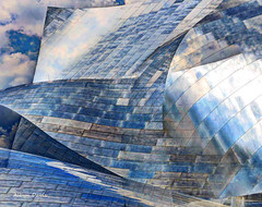 metallic sky (albyn.davis) Tags: architecture architecturalabstract abstract sky clouds blue color modern contemporary layered manipulation lines curves shapes metal