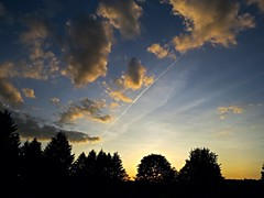 Trailing Shine. (Silas_Xavier) Tags: blue trees sunset summer sky plants cloud silhouette clouds glow sundown outdoor dusk trails pines heat serene con