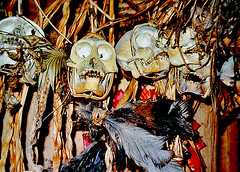 House Entrance - Siberut, Indonesia (Sascha Grabow) Tags: texture colors sumatra indonesia skeleton skull islands asia ghost praying decoration feathers surreal ghosts hunter indonesien padang houseentrance sumatera skelett animistic geister jger monkeyskull holzhtte dayak totenschdel suureal siberut woodenhuts steinzeitmenschen gtzenanbetung geisterbeschwrung azeh tribalreligion saschagrabow silogul