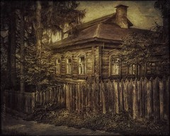 old house in Tarusa (odinvadim) Tags: landscape igcaptureslandscapes evening iphoneonly iphoneart iphoneography graphic mytravelgram painterlymobileart sunset enteredinsyb iphone snapseed artist instapickskyart travel textured editmaster textures painterly