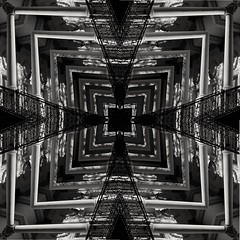 Cancin de Piedra y HierroA Song of Iron and Stone (katalan46) Tags: madrid park blackandwhite snow abstract art byn blancoynegro geometrico monochrome stone contrast design blackwhite iron noir cross columns tunnel kaleidoscope symmetry cruz contraste railing psychedelic tunel infinito bnw infinite blanconegro simetrico  monocromatico kaleidoscopio geometryc subrealista