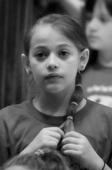 2016-04-07 (168) Fred D ES 2nd grade show (How Does Your Garden Grow) evening (JLeeFleenor) Tags: photos photography virginia va leesburg loudouncounty frederickdouglass elementaryschool twins inside indoors youthactivities youth skit bw blackwhite monochrome
