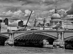 St Pauls Cathedral (Gilder Kate) Tags: stpaulscathedral stpauls london riverthames river thethames thames blackfriarsbridge bridge blackandwhite blackwhite monochrome clouds crane blackfriars fromsouthbank