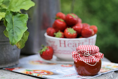 summer red (eleni m) Tags: summer red strawberries fruit bowl saucer jar glass outdoor cover plant leaves can magazine dof bucket zinc gardentable garden honey rope stilllife hedge green