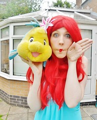 Ariel! (Elysia in Wonderland) Tags: little mermaid ariel disney cosplay costume princess blue dress red wig flounder fish marvellous events princessing funny face pout kiss fin