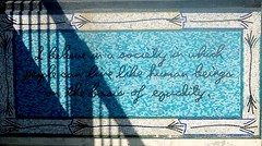 Malcolm X (pburka) Tags: quote malcolmx harlem mta subway mural tile writing script blue cyan station entrance 110thst