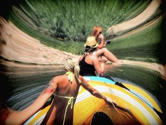 The Edge of a Dimension (clarkcg photography) Tags: photo picture frame capture warp bend distort blonde brunette redhead photography summer camera raft boat float river illinoisriver gravel gravelbar hot