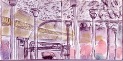 wiederholte sich nicht jeden Tag das immerselbe Spiel (raumoberbayern) Tags: sketchbook skizzenbuch tram munich mnchen bus strasenbahn herbst winter fall pencil bleistift paper papier robbbilder stadt city landschaft landscape auto car kopftuch veil