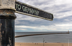 To Germany (Malc Bawn) Tags: signpost germany northsea pier beach sky brexit