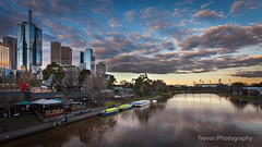 Yarra River & MCG, Melbourne (trevorjphotography) Tags: mcg melbournecricketground yarrariver buildings cbd sunset clouds melbourne victoria australia canoneos5dmarkii ef1740mmf4lusm landscape dusk cityscape skyscraper ferry birrarungmarr picturesque beautiful niceweather colourful