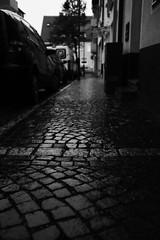 It's raining (Fuji X100S) (stefankamert) Tags: stefankamert itsraining rain street dark black bw sw blackandwhite blackwhite exposure alienskin fujifilm fuji x100 x100s dof highlights pavingstones cobblestones highiso