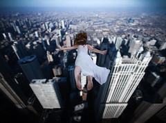 when it beckons you, follow it (momozart) Tags: woman fall falling architecture architectural chitown momozart chicity chicago buildings surreal surrealist dream fineart urban city sky lookingdown jumping jump lady whitedress dress model hair