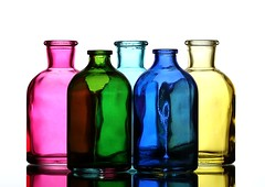Five Bottles (Karen_Chappell) Tags: bottle five 5 glass stilllife pink green blue yellow white multicoloured colourful colours colour product refraction