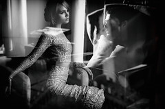 """tête-à-tête"" (helmet13) Tags: leicaxvario bw people poster promotion windowshopping windowreflection woman man fashion beauty feminine masculine macho aoi heartaward peaceaward world100f bestportraitsaoi elitegalleryaoi 200faves"