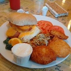 IMG_20160830_081958 (Quantum Stalker) Tags: eggs kielbasa sausage kaiser hash pierogies deep fried komfort kitchen brandon mb manitoba