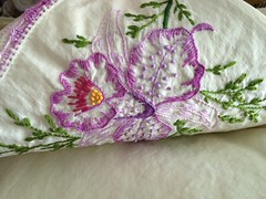 Vintage embroidered orchid pillowcase (eg2006) Tags: crocheted embroidered vintagepillowcase vintagelinen purple pillowcase vintage orchid vintageembroidery