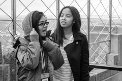 Girls at the Top (Black & White) (Kevin MG) Tags: travel girls usa ny newyork students youth view young streetphotography teens esb empirestatebuilding sights