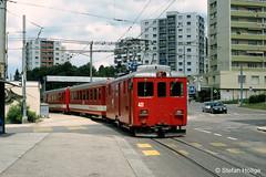 Chemins de fer du Jura De 4/4 411 La Chaux-de-Fonds, 10.07.2001 (Tramfan2011) Tags: schweiz cj ch meterspur cheminsdeferdujura