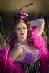 Saloon Girl Gone Bad-05 (eriknorderphotography) Tags: pink newzealand christchurch outdoors flash feathers burlesqueperformer sony70200f28g sonyalpha550