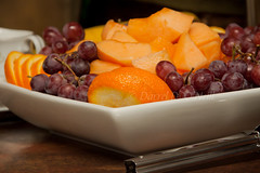 Fruit Tray 1 (LongInt57) Tags: red food orange brown white yellow fruit dish grapes tray oranges melons serving cantaloupes