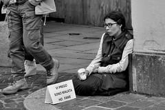 welfare state (Stefano E) Tags: street blackandwhite girl poor fame biancoenero pavia poveri candidstreet