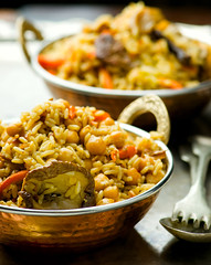 vegetarian pilaf with chick-pea and mushrooms (Zoryanchik) Tags: food vegetables dinner lunch mushrooms wooden vegan healthy dish rice background indian traditional spice rustic tasty vegetable fresh eat meal vegetarian peas arabian cooked ramadan chickpea pilaf