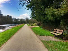 Doneraile Park (JulieK (thanks for 8 million views)) Tags: trees ireland irish clouds rural fence bench landscape path cork scenic bluesky hdr munster stleger hbm fishponds donerailepark iphone4 uploaded:by=flickrmobile flickriosapp:filter=nofilter ilobsterit 2015onephotoeachday