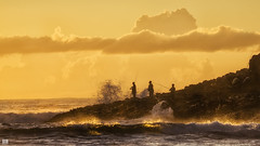Rock fishing at dawn (BAN - photography) Tags: sea cloud sunrise dawn fishing rocks fishermen daybreak fingalheads sunlitwaves wavesd810