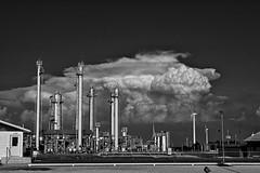 Kansas Energies (slammerking) Tags: kansas windmill refinery clouds sky bw blackwhite tower gas oil windtrbine energy magnoliapetroleum