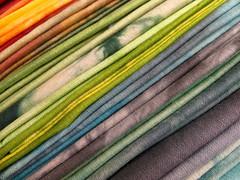 handdyed batique fabrics (dunkelgrunwool) Tags: color art sewing fabric quilting handsewn tiedye dyeing batik shibori handdyed batique