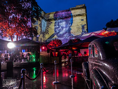 alma de cuba & old car (genelabo) Tags: party summer rain wall outdoor sommer towers havana cuba slide vj led projection welcome oldcar fest pani kuba p1 munic colourfull vjing genelabo