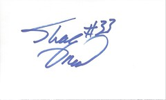 Autographed 3x5 Card - Shaquille O'Neal (Joe Merchant) Tags: autographed 3x5 card shaquille oneal hall fame lsu lakers basketball center nba