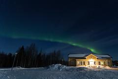 67-Aurora3 copy (Beverly Houwing) Tags: snow building night forest suomi finland frozen fullmoon lapland moonlight kukkola bungalow northernlights auroraborealis kukkolankoski